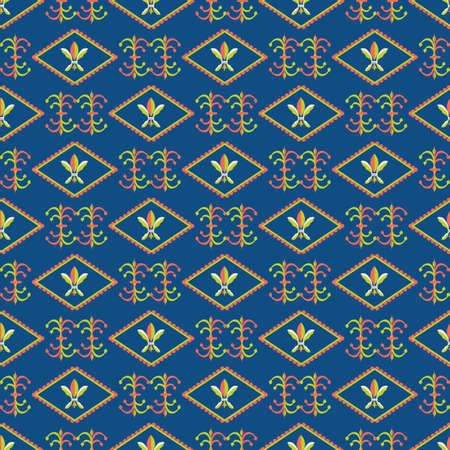 Vector fleur-de-lys diamond shape frames seamless pattern background. Rows of royal french lilies and decorative swirls. blue backdrop with ornate shapes. Geometric repeat for wellness