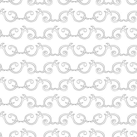 Vector interlinked decorative swirls seamless pattern background. Horizontal rows of ornate curled shapes in baroque style on white backdrop.Neutral vintage ornate design. Geometric repeat for wedding