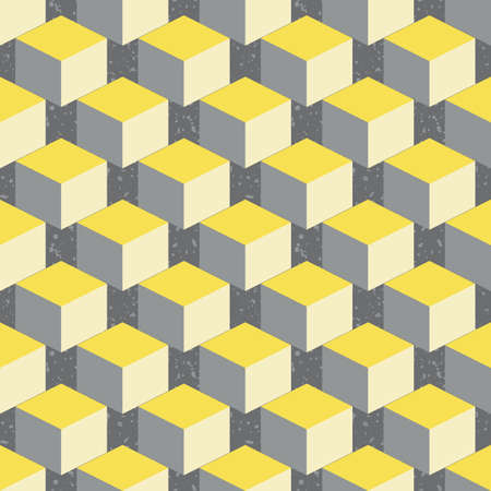3D isometric cube vector seamless pattern background. Diagonal rows of yellow grey cubes on textured terrazzo backdrop. Abstract design with geometric shapes. Staircase layout. Repeat for business