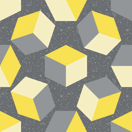 3D cube vector seamless pattern background. Free floating yellow grey cubes on textured terrazzo backdrop. Abstract design with geometric shapes. Modern scattered design.All over print for business