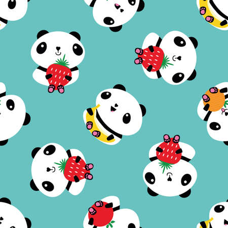 Kawaii panda and fruit seamless vector pattern background. Backdrop with cartoon bears holding apples, bananas, strawberries, oranges. Laughing and smiling animals. Healthy eating concept for kids 免版税图像 - 167146464
