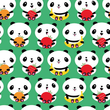 Kawaii panda and fruit seamless vector pattern background. Backdrop with rows of cartoon bears holding apples, bananas, strawberries oranges. Laughing animals.Healthy lifestyle eating concept for kids 矢量图像