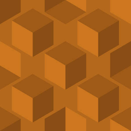 3D cube vector seamless pattern background. Diagonal rows of cubes monochrome ochre brown backdrop. Abstract design with geometric shapes. Floating staircase layout. Repeat for business 免版税图像 - 167146466