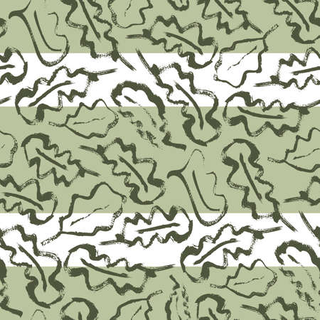 Oak leaf striped seamless vector pattern background. Simple calligraphy brush foliage on wide sage green horizontal stripes. Geometric backdrop.Botanical design. Painterly style repeat for wellness.