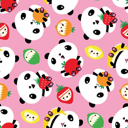 Kawaii panda and fruit seamless vector pattern background. Cartoon bears and laughing character fruit scattered on pink backdrop. Fun design with cute animals. Healthy eating concept for children 免版税图像 - 167146469