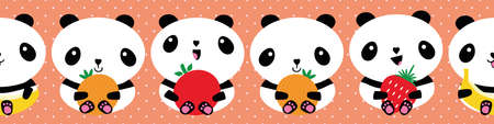 Cute Kawaii panda and fruit seamless vector border. Banner backdrop with cartoon bears holding apple, banana, strawberry, orange. Ribbon, edging, header for healthy lifestyle eating concept for kids