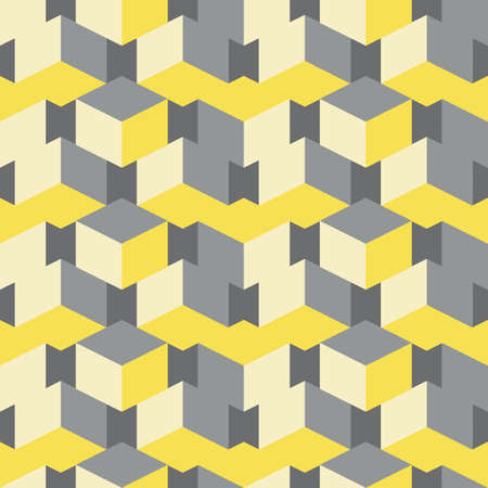 3D isometric cube vector seamless pattern background. Overlapping stacked yellow grey cubes geometric. backdrop. Abstract chevron effect with rectangular and diamond shapes. Repeat for business