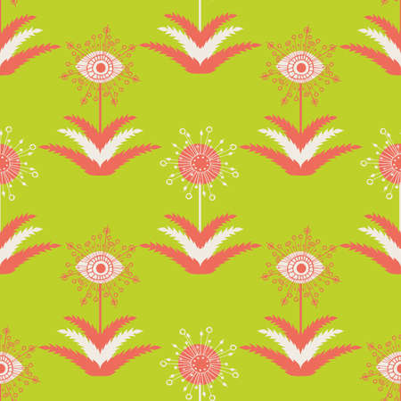 Abstract dandelion seeds seamless vector pattern background.Stylized folk art mix of herbacious garden flowers lime green, coral pink, whitebackdrop.Geometric hand drawn botanical repeat for wellness