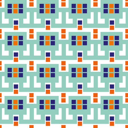 Modern Moorish style geometric vector pattern background. Backdrop with mosaic squares and interlinked shapes. Blue, indigo, neon orange repeat with tiled rectangles. Summer vacation beach concept