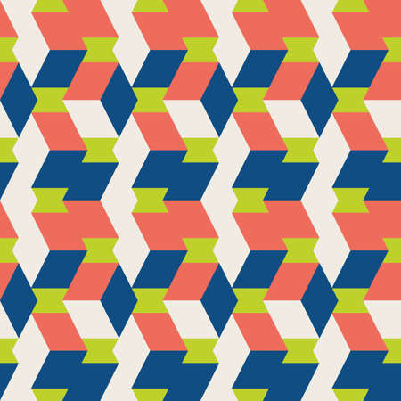 3D isometric cube vector seamless pattern background. Overlapping vertical folding cubes geometric. backdrop. Abstract chevron effect blue, green, red rectangular shapes. Repeat for business packaging 矢量图像