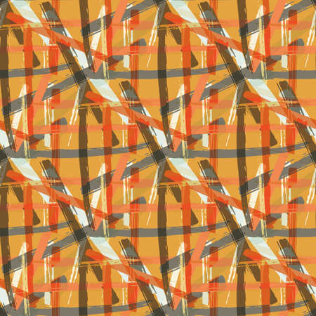 Vector braid effect weave seamless interlace pattern background. Macrame style ribbon plait lattice orange beige ochre backdrop. Geometric modern baroque grid knotwork. All over print for packaging