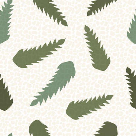 Abstract dandelion leaves seamless vector pattern background.Stylized mix of herbacious sage green garden wildflower foliage backdrop with pebble texture blend. Stylish botanical repeat for wellness 免版税图像 - 167973694