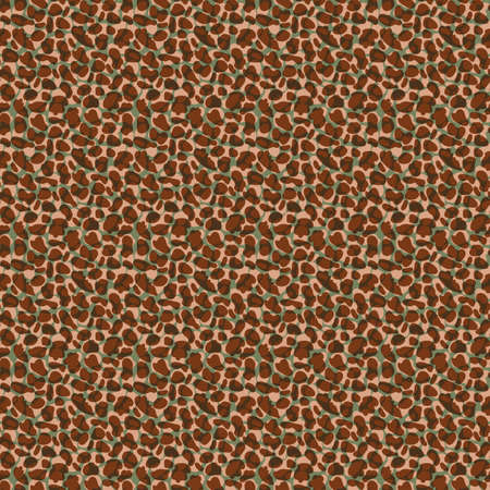 Faux leather texture vector seamless pattern background. Blended ochre transparent layers of random abstract shapes and dots on sage green backdrop. Painterly macro skin textured all over print. 矢量图像