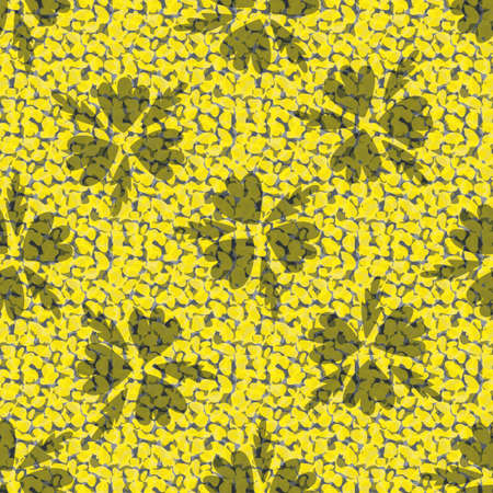 Faux leather and florals texture vector seamless pattern background. Backdrop with yellow grey blended transparent layers of animal print and petals. Painterly all over print for packaging or fabric