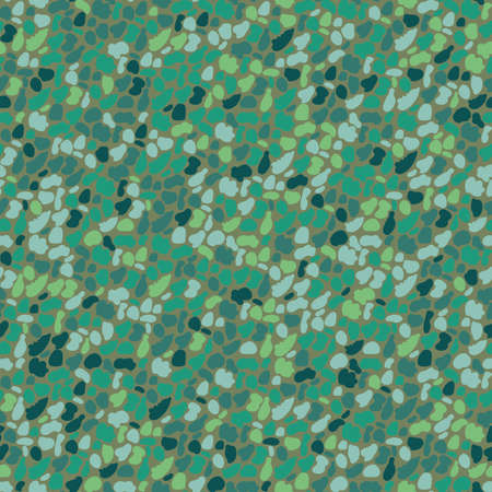 Vector dense malachite pebble pattern background. Monochrome green oval circle shapes backdrop. Rounded grain granite particles. Igneous rock texture of mineral crystals. Stone surface abstract repeat 免版税图像 - 168068416