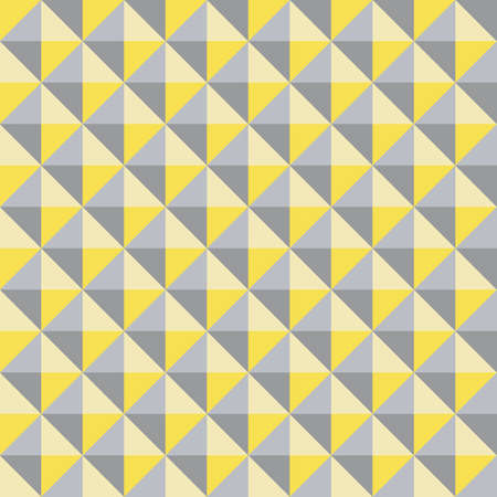 Vector 3D pyramid shaped stud seamless pattern background. Studded backdrop with shaded triangles. Yellow grey duotone repeat. Modern tactile texture design. Geometric all over print for business