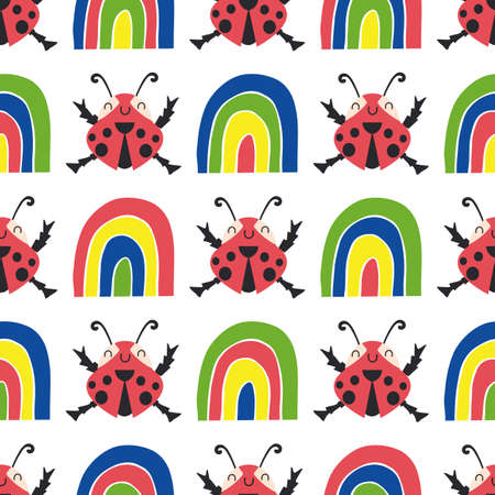 Cute ladybirds and rainbows seamless vector pattern background. Happy dancing ladybugs in childlike drawing style. Geometric design in primary colors with garden bugs.All over print for children