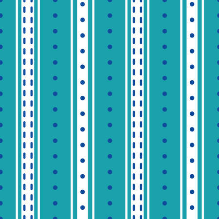 Vector stripes and polka dot seamless pattern background. Modern aqua blue white backdrop with shirting vertical stripe repeat in varying widths. Striped fabric style ticking design. All over print. Vecteurs
