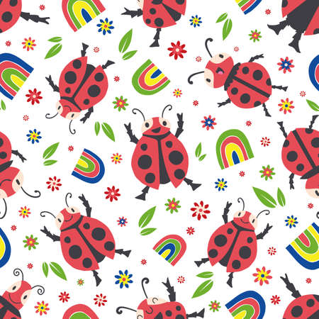 Cute ladybirds and rainbows seamless vector pattern background. Happy dancing ladybugs in childlike drawing style. Design in primary colors with garden bugs, flowers.All over print for children 免版税图像 - 168068425