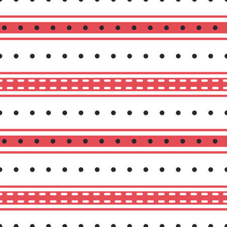 Vector stripes and polka dot seamless pattern background. Modern red black white backdrop with shirting horizontal stripe repeat in varying widths. Striped fabric style ticking design. All over print. 矢量图像