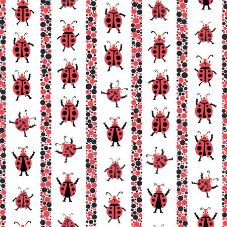 Cute dancing ladybirds stripe seamless vector pattern background. Kawaii ladybugs in childlike drawing style with vertical dot bubble fill stripes. Garden bug design in red black. Repeat for children