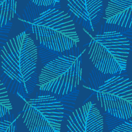 Mono print style scattered leaves seamless vector pattern background. Cobalt blue layered lino cut effect skeleton leaf foliage backdrop. At home hand crafted design concept. Repeat for packaging