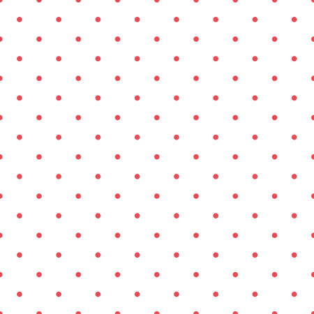 Ditsy vector polka dot seamless pattern background. Small circles bright red white backdrop. Regular geometric repeat confetti design. All over print for summer or birthday party celebration concept 矢量图像