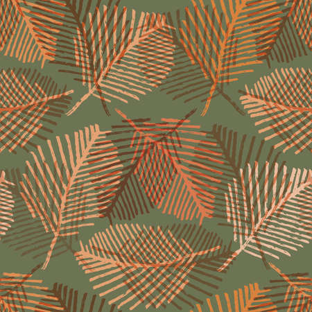 Mono print style scattered leaves seamless vector pattern background. Ochre sage green layered lino cut effect skeleton leaf foliage backdrop. At home hand crafted design concept. Repeat for packaging 矢量图像