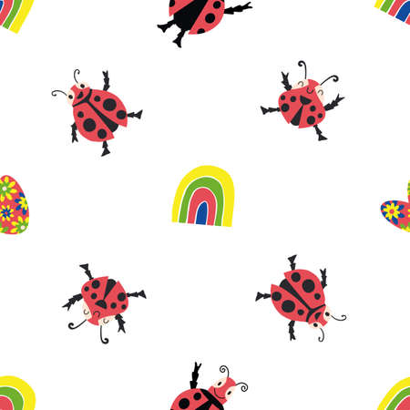 Cute kawaii ladybirds, rainbows, hearts seamless vector pattern background. Happy dancing ladybugs in childlike drawing style. Bright design with garden bugs, floral heart shapes. Repeat for children 矢量图像