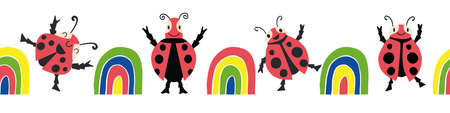 Cute kawaii ladybirds and rainbows seamless vector border background.Banner with happy dancing ladybugs in childlike graphic drawing style.Bright kids design with garden bugs.For ribbon, trim, edging 矢量图像