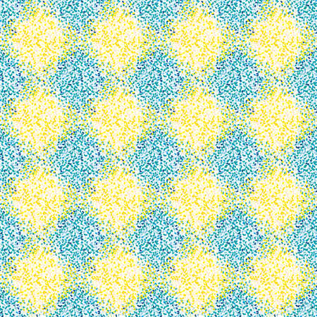 Vector Mediterranean mosaic style stipple paint seamless pattern background. Geometric texture with dotted diamond shapes, stippled motifs. Blue yellow check backdrop. All over print for summer