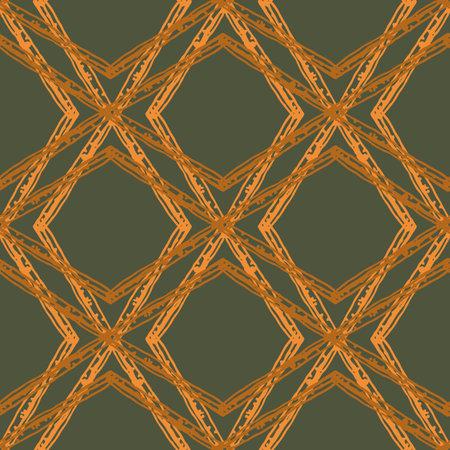 Rattan weave style vector seamless pattern background. Interlaced wicker basket effect sage green ochre backdrop. Hand drawn woven motifs. Rustic criss cross lines diagonal design. Geometric repeat.