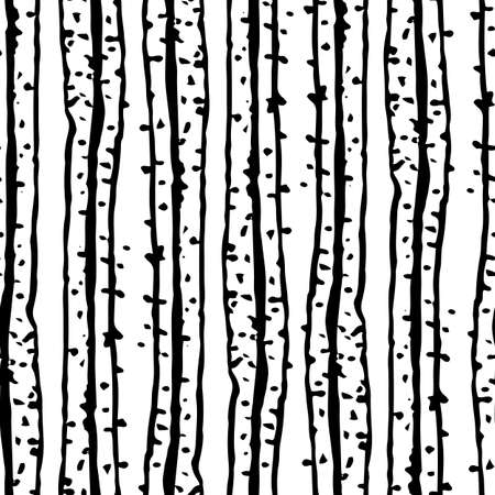 Modern grunge striped vector seamless pattern background. Vertical black white textural stripes and dots ibackdrop. Irregular lines stippled drawing effect. Abstract geometric repeat for packaging.