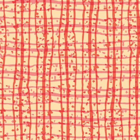 Grunge grid line vector seamless pattern background. Organic irregular lines.Painterly ink brush stroke style weave backdrop. Criss cross burlap dot effect geometric design. Orange, yellow repeat 矢量图像