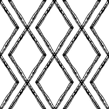 Diamond shape doodle grid seamless vector pattern background. Modern hand drawn irregular lines grunge monochrome criss cross backdrop. Rhombus vertical linear geometric all over print for packaging