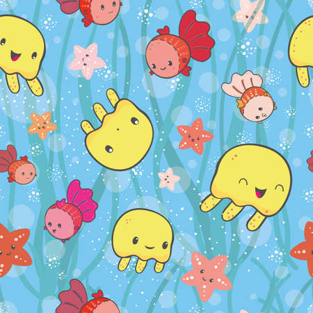 Kawaii yellow jellyfish seamless vector pattern background. Cute cartoon marine creatures background with transparent bubble and wave texture. Hand drawn ocean under the sea character repeat for kids. 矢量图像