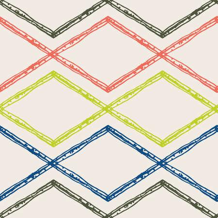 Diamond shape doodle grid seamless vector pattern background. Modern hand drawn irregular lines grunge horizontal criss cross backdrop. Rhombus linear geometric all over print for packaging 矢量图像