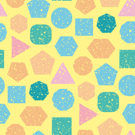 Geometric abstract multicolor vector seamless pattern background. Mix of triangle, hexagon, circle, square shapes with texture overlay. Pink, blue, teal, orange on yellow backdrop. Summer repeat