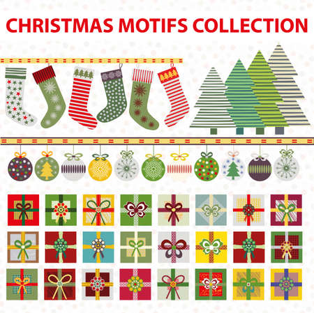 Christmas motifs vector set. Large collection of Christmas stockings, trees, baubles, border, gifts in traditional colors. Adjustable dotted background. Hand drawn festive elements for the holidays. 矢量图像