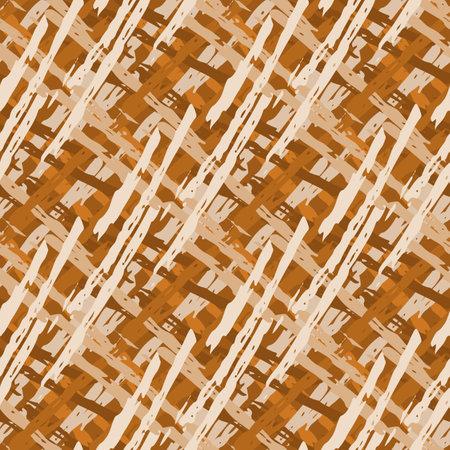 Vector wicker weave dense seamless pattern background. Painterly brush stroke effect criss cross backdrop. Woven basket style ochre cream geometric grid repeat design. All over print rattan texture. 矢量图像