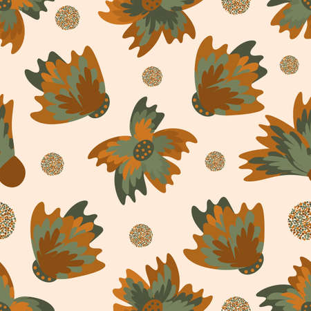 Wild meadowflower blossom seamless vecor pattern background. Ochre and sage green painterly florals with circles on beige backdrop. Hand drawn petals modern botanical design. Repeat for wellness