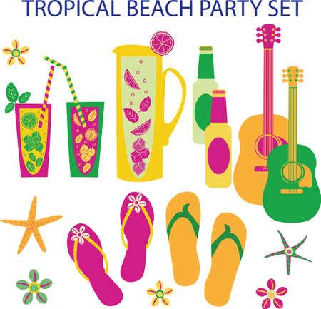 Tropical beach party vector set. Collection of isolated mojito jugs, drinks glasses with bendy straws, lemon slices, starfish, shells, male female flip flops, guitars.Vibrant hand drawn illustration.