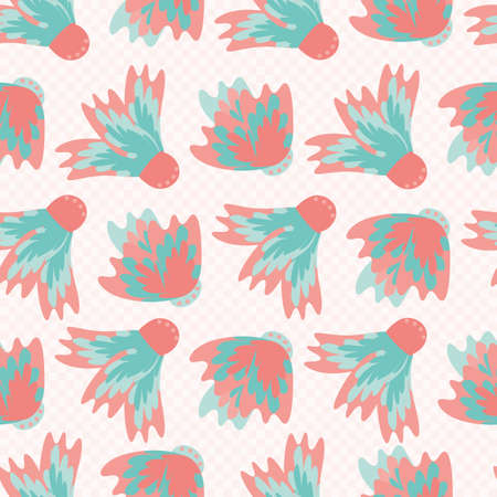 Wild meadowflower blossom seamless vecor pattern background. Abstract pink blue feathered painterly floral mix backdrop. Hand drawn petals modern botanical design. Repeat for wellness or baby
