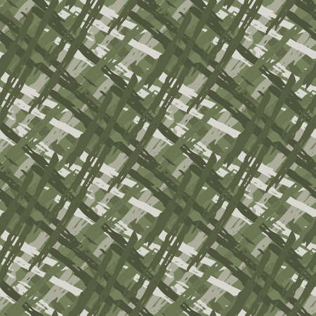 Vector wicker weave dense seamless pattern background. Painterly brush stroke effect criss cross backdrop. Woven basket style sage green geometric grid repeat design. All over print rattan texture. 矢量图像