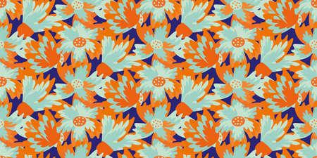 Wild meadowflower blossom seamless vecor border. Banner with abstract neon blue orange indigo painterly floral texture . Hand drawn petals modern botanical design. For edging, header, trim, packaging