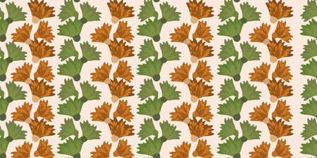 Wild meadowflower blossom seamless vecor border. Banner with abstract ochre and sage green alternating rows of overlapping flower groups. Stripe effect botanical design. For edging, header, trim