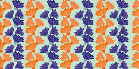 Wild meadowflower blossom seamless vecor border. Banner with abstract neon orange indigo alternating rows of overlapping flower groups. Stripe effect botanical design. For edging, header, trim