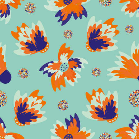 Wild meadowflower blossom seamless vecor pattern background. Blue and neon orange indigo painterly florals with circles on cyan backdrop Hand drawn petals modern botanical design. Repeat for wellness