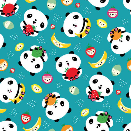 Kawaii panda and fruit seamless vector pattern background. Backdrop with cartoon bears holding apples, bananas, strawberries, oranges. Laughing and smiling animals. Healthy eating concept for kids 矢量图像