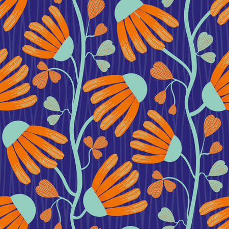 Modern Indian Floral style vector seamless pattern background. Neon orange and blue abstract echinacea flowers on winding vine with heart shaped leaves on a textured indigo background.Tropical repeat 矢量图像